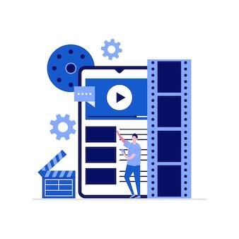 Concetto di produzione, montaggio e montaggio video mobile con personaggi. persone che fanno film utilizzando smartphone.