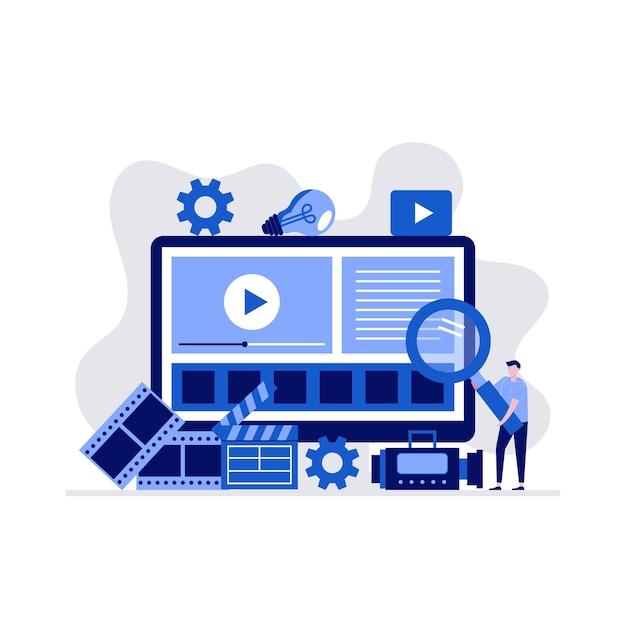 Concetto di produzione video con personaggio e grande schermo del computer.