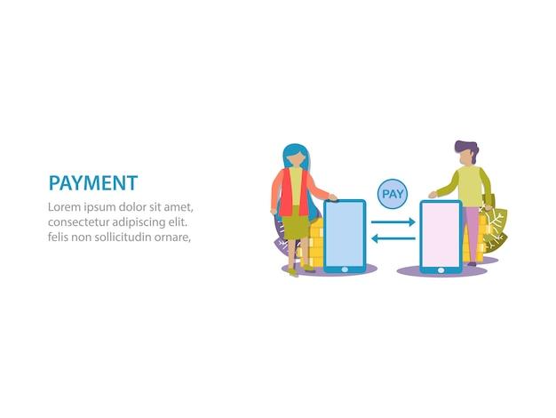Concetto di progettazione di sfondo di pagamento digitale per pagina web