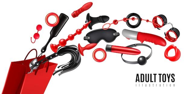 Concetto di progetto adulto dei giocattoli come pubblicità per l'illustrazione realistica di produzione del sexshop