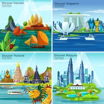 Concetto di progetto asiatico di viaggio 2x2