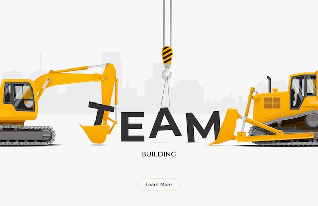 Concetto di progetto del modello dell'insegna del team building. escavatore e bulldozer che raccolgono la parola del gruppo.