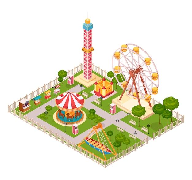 Concetto di progetto del parco di divertimenti con il carosello della ruota panoramica di altalena ed il fumetto isometrico degli elementi dell'attrazione estrema della famiglia