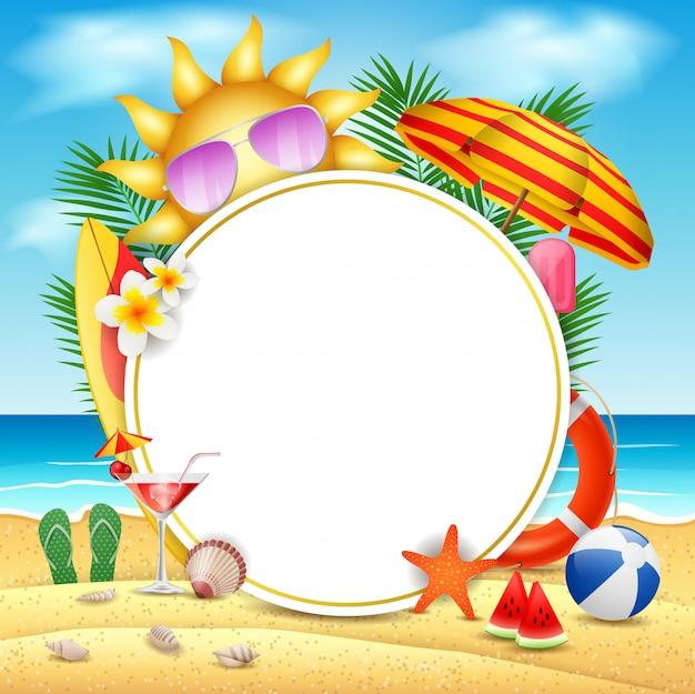 Concetto di progetto della bandiera di vettore di estate nell'isola della spiaggia con il fondo del cielo blu di bellezza. illustrazione vettoriale