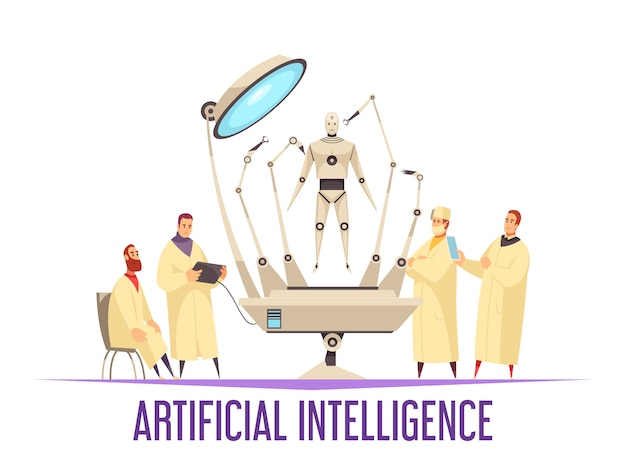 Concetto di progetto di intelligenza artificiale con il robot medico per l'illustrazione piana degli scienziati e dei chirurghi di androide di operazione della chirurgia