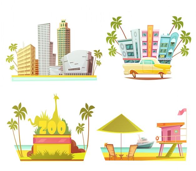 Concetto di progetto di miami 2x2 con la cabina del bagnino dello zoo della città dei grattacieli