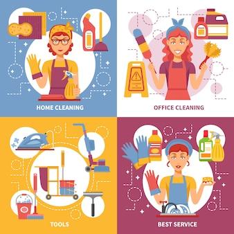 Concetto di progetto di servizio di pulizia