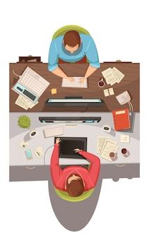 Concetto di progetto di vista superiore di riunione d'affari con due uomini d'affari che si siedono nei loro lavori e che discutono l'illustrazione piana di vettore del fumetto di problemi