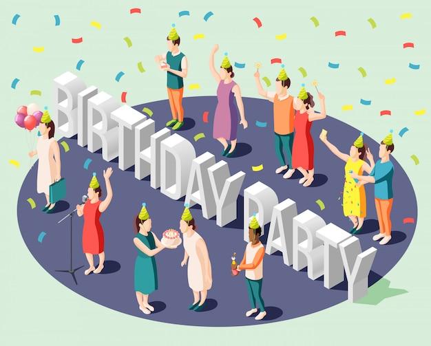 Concetto di progetto isometrico della festa di compleanno con la piccola gente felice che sta intorno alla grande illustrazione delle lettere di intestazione