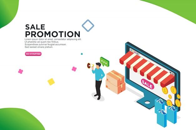 Concetto di progetto isometrico di promozione di vendita - vettore