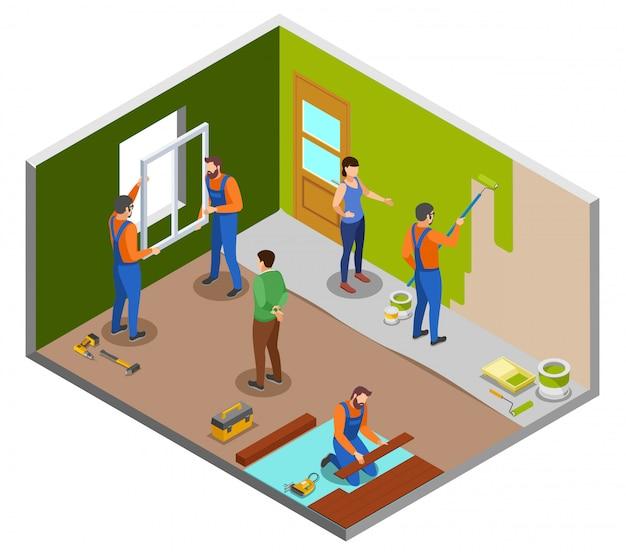 Concetto di progetto isometrico di riparazione domestica con gli artigiani che eseguono i vari lavori nella sala e proprietari che danno l'illustrazione delle istruzioni