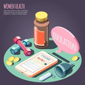 Concetto di progetto isometrico di salute delle donne con gli oggetti sull'illustrazione di vettore di tema di gravidanza e di ovulazione