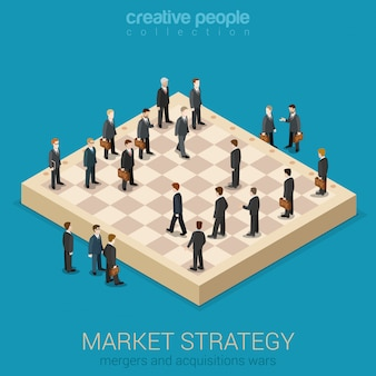 Concetto di progetto isometrico piano 3d di stile piano di strategia di mercato di affari corporativi. gli uomini d'affari sono figure sulla scacchiera che giocano un gioco di vita reale.