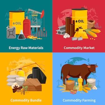 Concetto di progetto piano di varie materie prime con i prodotti dell'agricoltura e materiali dell'illustrazione industriale di elaborazione di vettore