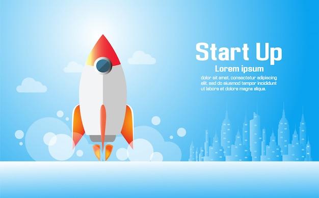 Concetto di progetto startup di affari con il razzo