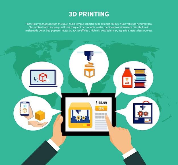 Concetto di progetto volumetrico della stampante