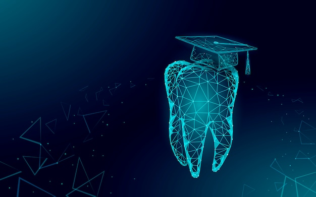 Concetto di programma del certificato del laureato dentale della medicina di distanza di e-learning. il poli basso 3d rende il cappuccio di graduazione sul modello dell'insegna del dente. illustrazione del corso di formazione internet