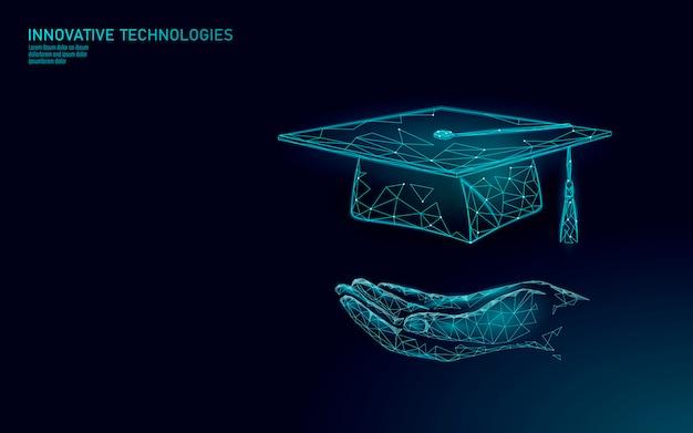 Concetto di programma di certificato di laurea a distanza e-learning. il poli basso 3d rende il cappuccio di graduazione sul modello dell'insegna della mappa di mondo del pianeta terra. illustrazione del corso di formazione internet