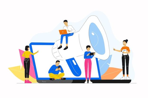 Concetto di promozione con persone e megafono sul laptop