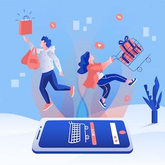 Concetto di promozione vendita app online shopping. la gente che tiene un carrello e una borsa che volano dallo smartphone