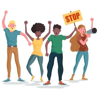 Concetto di protesta delle persone