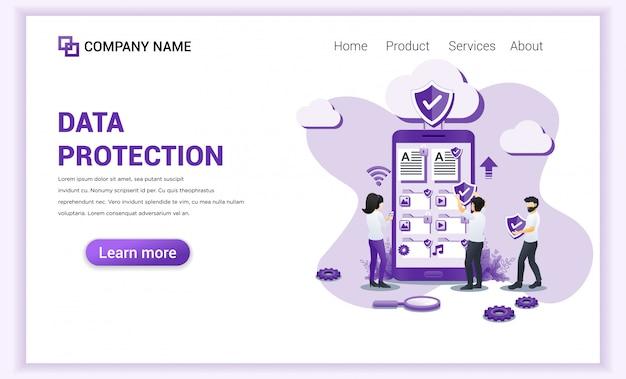 Concetto di protezione dei dati digitali, dati cellulare per landing page.