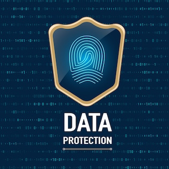 Concetto di protezione dei dati, gold sheild protegge una stampa di dito su sfondo azzurro blu