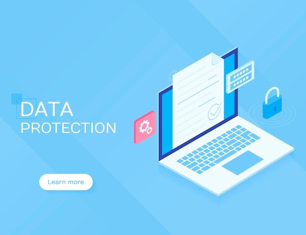 Concetto di protezione dei dati. illustrazione isometrica piana di vettore sul blu