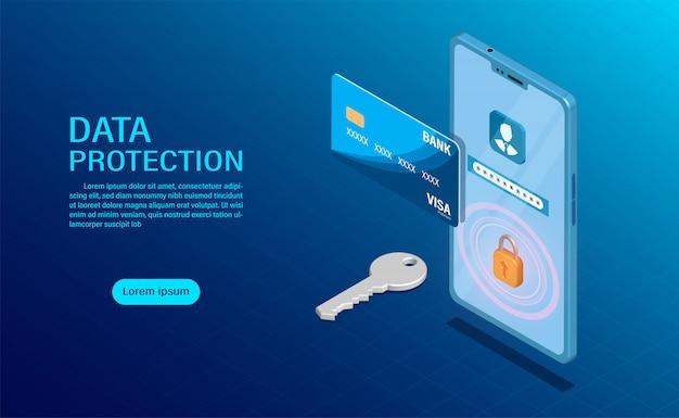 Concetto di protezione dei dati. proteggere il finanziamento e la riservatezza dei dati con elevata sicurezza.