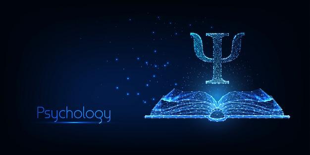 Concetto di psicologia futuristica con libro aperto poligonale basso incandescente e lettera greca psi