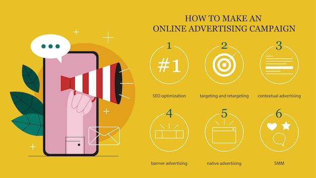 Concetto di pubblicità online. come creare un'istruzione per una campagna pubblicitaria online. infografica di marketing. pubblicità commerciale e comunicazione con il cliente. illustrazione
