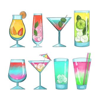 Concetto di raccolta cocktail dell'acquerello