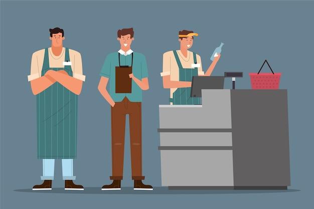 Concetto di raccolta dei lavoratori del supermercato