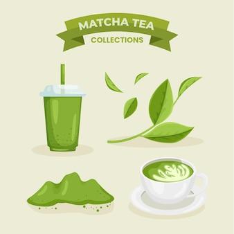 Concetto di raccolta del tè matcha