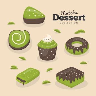 Concetto di raccolta di dessert matcha