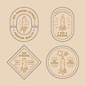 Concetto di raccolta di etichette barattolo di ginseng