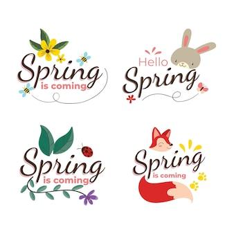 Concetto di raccolta di etichette di primavera