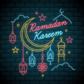 Concetto di raccolta di insegne al neon del ramadan