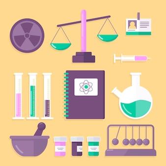 Concetto di raccolta di oggetti di laboratorio di scienza