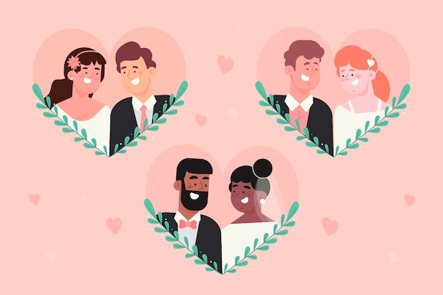 Concetto di raccolta di sposi design piatto