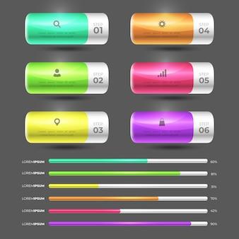 Concetto di raccolta infografica lucido 3d