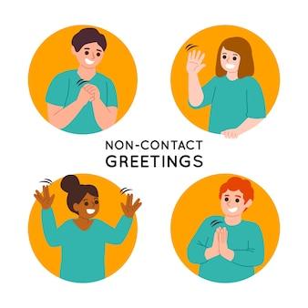 Concetto di raccolta saluti senza contatto