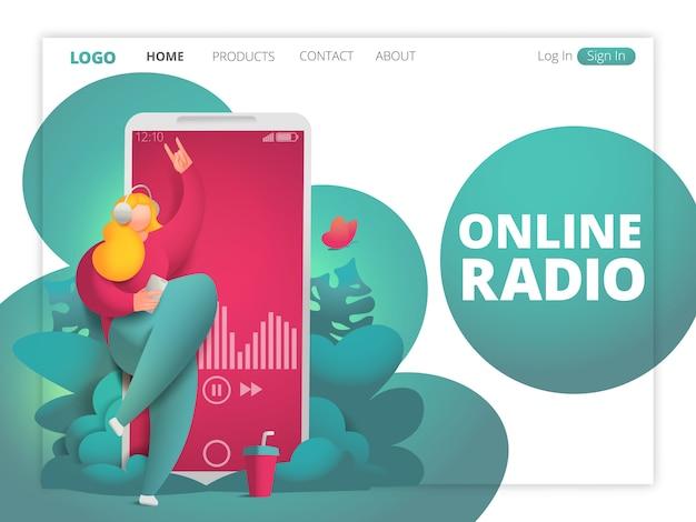 Concetto di radio online su internet. carattere di ragazza danzante nelle cuffie.