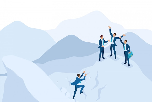 Concetto di raggiungimento obiettivo isometrico con la tua squadra, leadership.