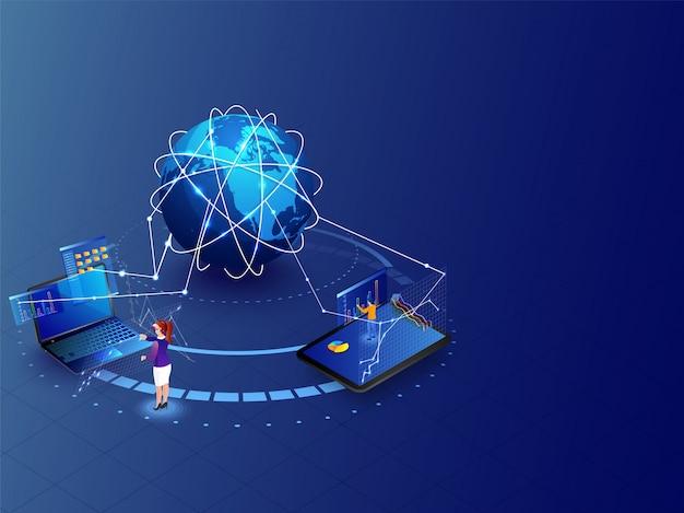 Concetto di realtà aumentata globale, design del modello di sito web, miniatura