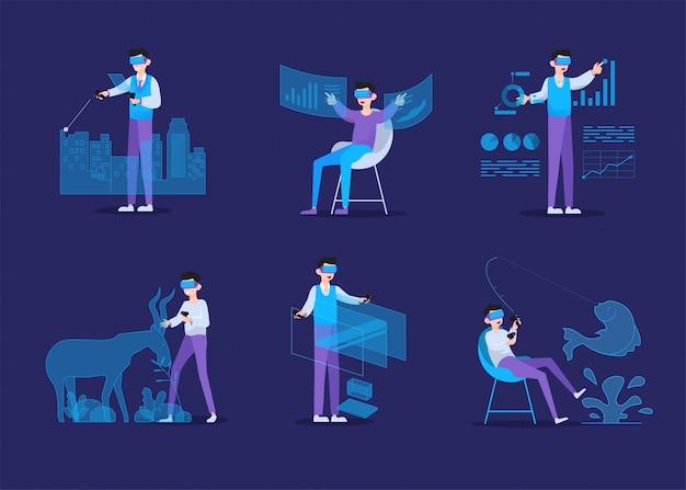 Concetto di realtà virtuale con uomo che indossa occhiali per realtà virtuale