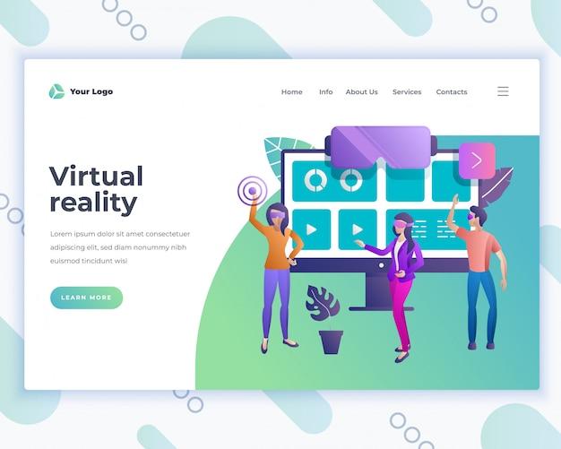 Concetto di realtà virtuale del modello della pagina di destinazione con la gente dell'ufficio