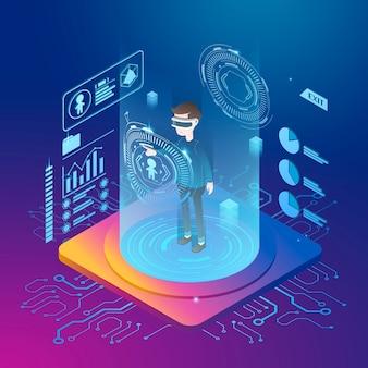 Concetto di realtà virtuale in stile di proiezione isometrica