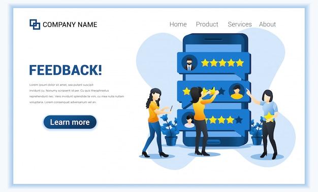 Concetto di recensione del cliente. giovane donna che dà la valutazione delle stelle sullo smartphone gigante. soddisfazione, feedback positivo per prodotti o servizi.