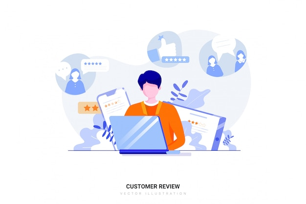 Concetto di recensione del cliente